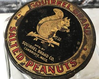 Vintage Squirrel Brand Peanuts Glass Jar Antique Advertising