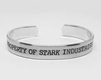 "Marvel fan aluminum cuff: ""PROPERTY of STARK INDUSTRIES"" hand stamped avengers Iron Man bracelet"