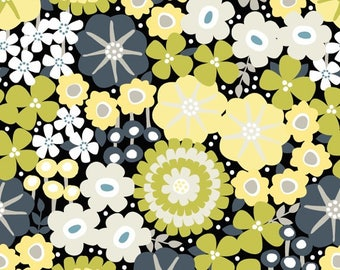 LAMINATED cotton fabric by the yard (similar to oilcloth) - Tracy yellow gray - Matte finish - WIDE BPA free Food Safe Approved for children