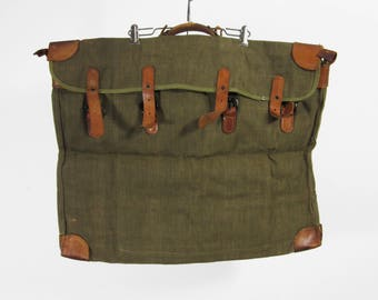 Vintage Waxed Canvas Portfoio Bag Leather Belted Large 1940s Military Issue