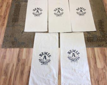 5 Pack Bemis A Vintage seed sacks. 0214186