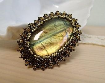 Labradorite Brooch, Bead embroidered Brooch, Beadwork Brooch , Handmade Jewelry