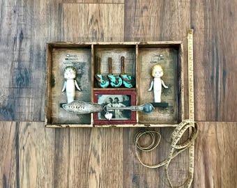 Kewpie Dolls, Assemblage Art, Vintage Art, Vintage Assemblage, Sisters, Vintage Wheels, Vintage Photo