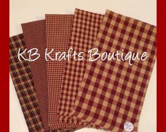 Homespun Fabric Fat Quarters 5 piece