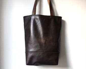 Leather Tote Bag - Repurposed Dark Brown Leather Tote Bag