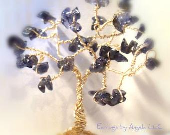 Iolite Gemstone Tree//Spirit of Journey//Intuition//Home Decor//Positive Vibes