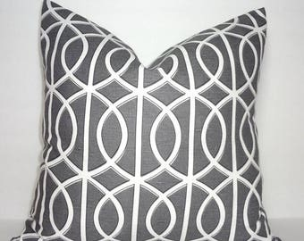SPRING FORWARD SALE Robert Allen Dwell Studio Geometric Grey Pillow Cover Decorative Throw Pillow Cover 18x18