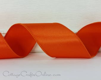 "Wired Ribbon,  2 1/2"" wide, Orange Satin - THREE YARDS -  ""Courtly Orange"" Wedding, Spring, Fall, Halloween  Wire Edged Ribbon"
