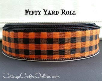"Halloween Wired Ribbon 1 1/2"", Orange and Black Gingham Check - FIFTY YARD ROLL - Offray  Plaid Wired Edged Ribbon"