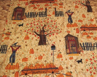 """14"""" x 14"""" PILLOW COVER - Autumn Orchard Scarecrow Pumpkin Patch with Cottage"""