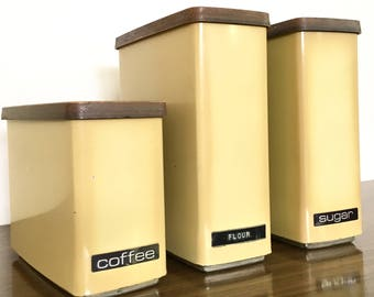 Mid Century Yellow Canister Set / Lincoln Beautyware Kitchen Canister Set / Retro Food Storage