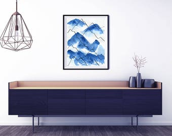 Mountain Poster. Large abstract print. Modern Art print. Abstract Mountains. Modern home decor. Large poster. Living room wall art