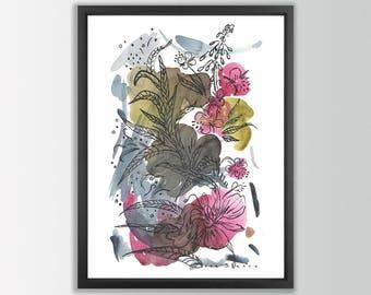 Botanical print. Floral poster. Flower Print. Flower watercolor. Flower poster. Floral wall art. Flower painting print. Floral art print