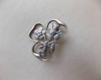 Vintage Silver Arts  Crafts Style Shamrock  Brooch Pin  LOVELY