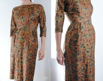 silky fitted floral print animal print hour glass fit 50s dress Jane Stevens