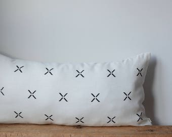 Lumbar Bed Pillow Cover/Ivory Linen/Black Pattern/Modern/Minimalistic/Stylish Accent Pillow/New Collection/Zigazag Studio Design
