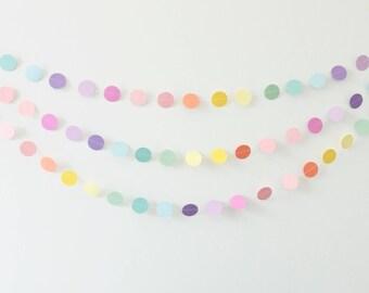 Pastel Rainbow Circle Garland, Paper Circle Garland, Rainbow Circle Garland, Party Garland, Photo Prop, Pastel garland