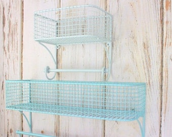 SALE SET Bathroom Organizer, Basket Towel Rod, Bathroom Shelf, Bathroom Storage, Industrial, Towel Rack, Farmhouse Style, Wire Shelf, Fixer