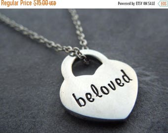 Beloved necklace, hand stamped stainless steel,
