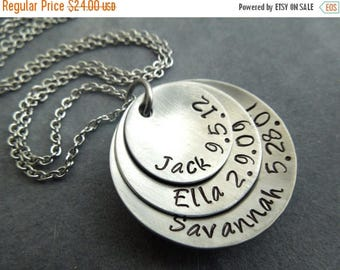 SALE Personalized mother's necklace hand stamped & domed stainless steel 3 disc necklace