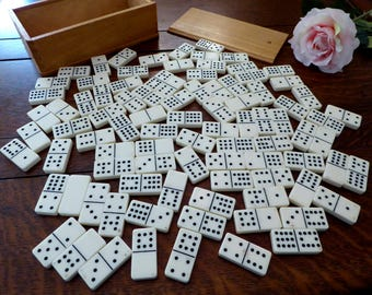 Vintage Dominoes Double Twelve Complete Set Wood Box, Old White Dominoe Set in Wood Box Complete 91 Double 12's