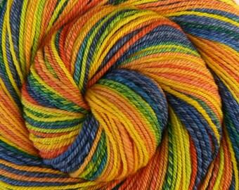 Worsted Weight Handspun Yarn, Self-Striping - CITRUS GROVE - Handpainted Ultrafine 15.5μ Merino wool, 265 yards, knitting yarn, weft yarn