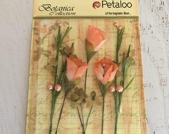 Petaloo Botanic Collection, Calla Lillies and Berries in Peach, for scrapbooking, papercrafting, cardmaking, mixed media, art journaling