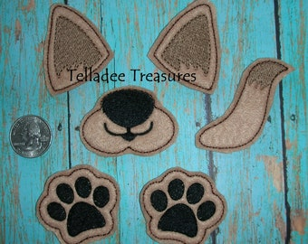 Dog Parts #2 Oversized Feltie  - Brown Felt - Great for Hair Bows and crafts Parts - Set of muzzle and nose, paws, ears and tail OS