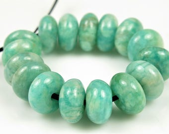Natural African Amazonite Rondelle Bead - 7.5mm x 4mm - 16 beads - B7278