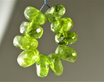Natural Genuine Peridot Micro-Faceted Rondelle Beads - 7.5mm x 4mm - 10 beads - B7428