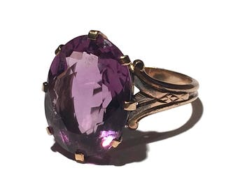 Vintage Oval 8 Carat Amethyst 14K Yellow Gold Cocktail Ring
