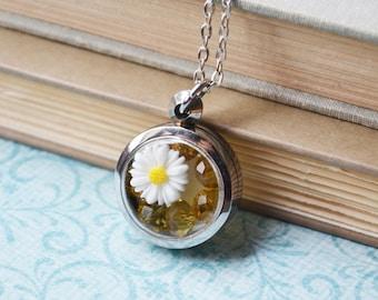 White Daisy Terrarium Necklace