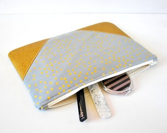 Women's polka dot spot metallic gold glitter padded beauty pouch protective grey and gold XL extra large makeup bag cosmetics pouch.