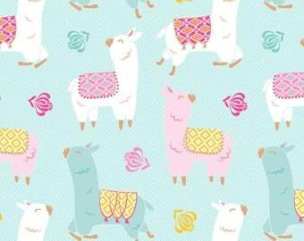 White/Teal Happy Llamas Anti-Pill Fleece, #DT5662MACW2, fromDavid Textiles Novelty Fleece Prints Collection-One Yard Cut