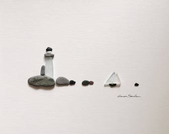 Pebble Art light house 8 by 10 PebbleArt by Sharon Nowlan choice of framed or unframed