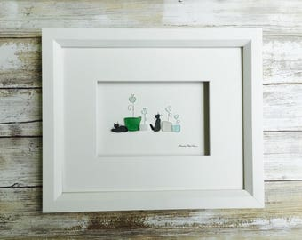 Pebble and seaglass  plants and cats 8 by 10 PebbleArt by Sharon Nowlan choice of framed or unframed