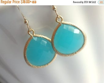 SALE Mint Earrings, Blue Earrings, Aqua Earrings, Aquamarine Gold Filled, Wedding, Bridesmaid Earrings, Bridal Earrings Jewelry, Bridesmaid