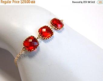 SALE Orange Bracelet, Glass, Carnelian, Red Orange, Dark, Tangerine Gold, 14K Gold Filled, Wedding Jewelry, Bridesmaids Bracelet, Bridesmaid