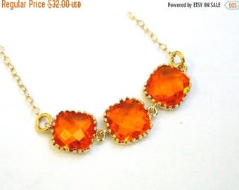 SALE Orange Necklace, Glass Necklace, Gold Orange, Gold Filled Necklace, Tangerine, Bridesmaid Necklace, Bridal Jewelry, Bridesmaid Gifts