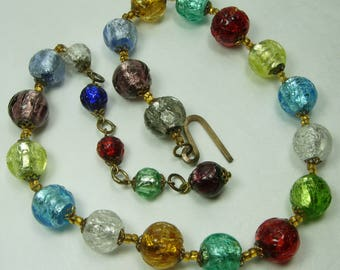 40s Venetian Murano Silver Foil Glass Bead Necklace Jewel Tone 12mm Beads 16 Inches