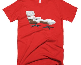 Eames White Lounge Chair & Ottoman Illustration T-shirt for Men. Gift for architect, design lover or interior designer. Other colors too!