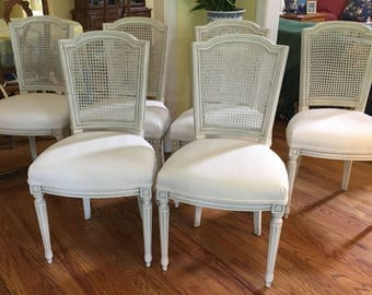 Nicely Sized Italian Dining Chairs with Caning (set of six) - Totally Refurbished