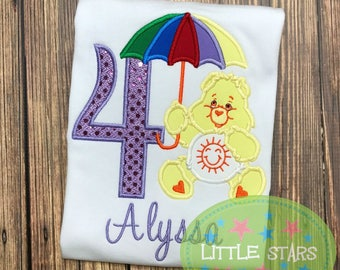 Care Bear Sunshine with Number - Embroidered and Personalized Birthday Shirt - You Choose Number