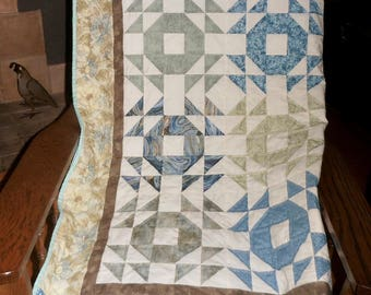 Hand Quilted Lap or Throw Blue and Green