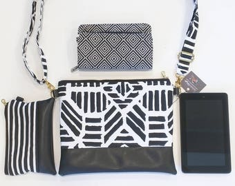 Black and White Ribble print hipster with black faux
