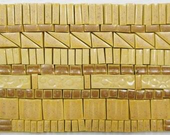 175+ Handmade Mosaic Tile Pieces Ceramic Stoneware  Warm Beige Brown Earth Tones Craft Tile Assortment #1