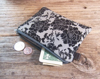 Change purse- Coin purse -  small zipper wallet in black and gray flower fabric has a keyring ,will fit all your cards and change.