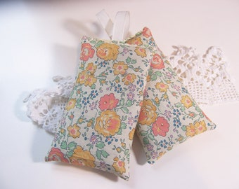 Liberty of London Set of two hanging lavender sachets in yellow sachet for your drawers or your bathroom . sleep aid or small gift.