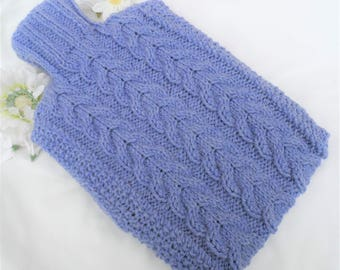 Hand Knitted Lavender Cabled Hot Water Bottle Cover/Cozy/Cosy ~ Aran Wool