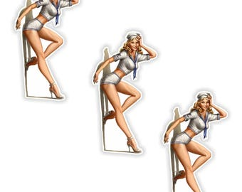 Pin Up Girl 3x Stickers Vintage Sexy #05 - 3.5x6cm (1.3 x 2.3inches) for Laptop Tablet Helmet Motorcycle Bumper